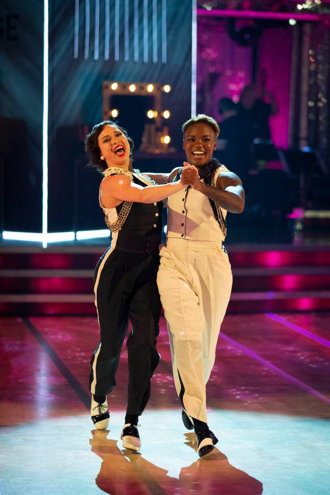 Adams has said she's proud to be part of Strictly's first same-sex couple (Credit: Guy Levy/BBC)