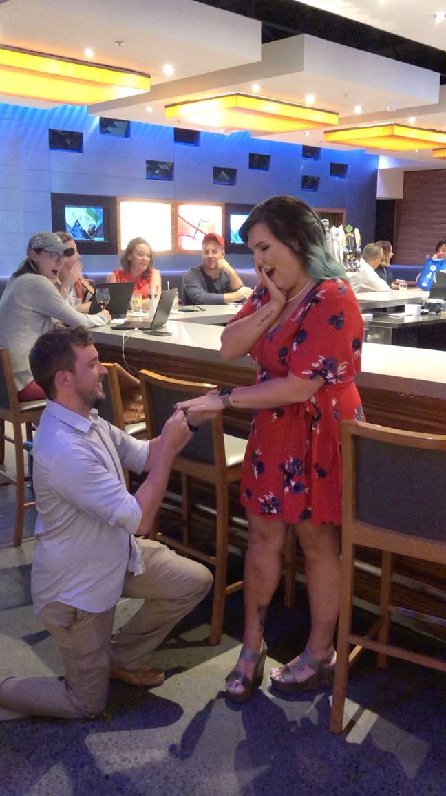The couple staged the proposal (Credit: Caters News Agency)