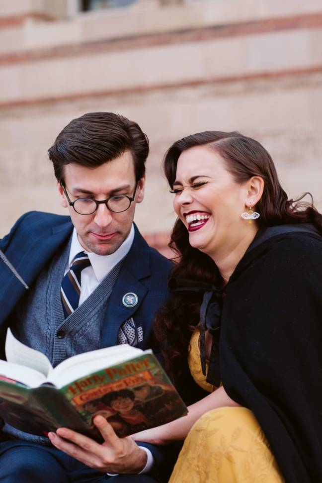 The couple posed with books and magic wands (Credit: Playful Soul Photography)