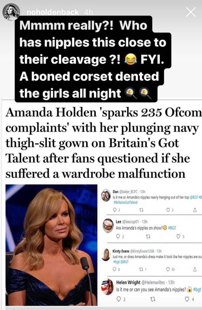 Amanda fired back at critics via her Instastories (Credit: Amanda Holden / Instagram)