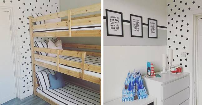 Spots and stripes are a winning combination in this bunk room (Credit: Instagram / @cherylshomeonabudget)