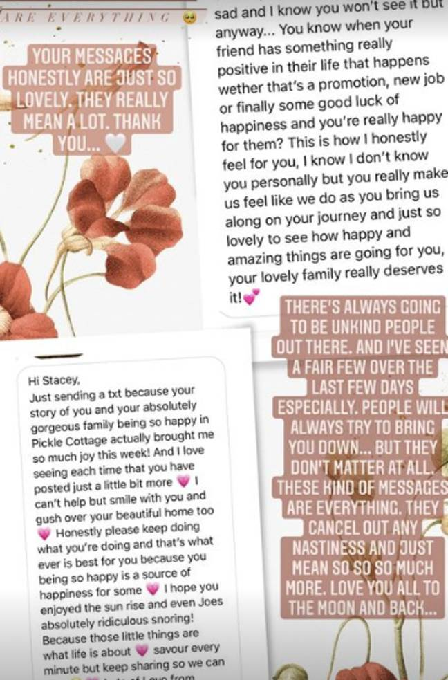 Stacey thanked followers for their lovely messages (Credit: StaceySolomon/Instagram)
