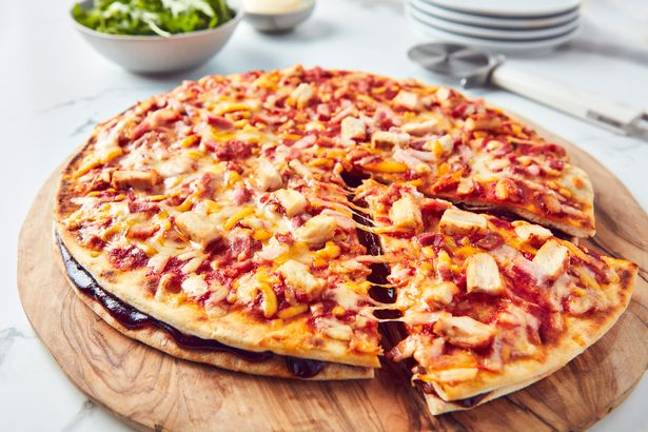 The BBQ chicken and bacon features an extra base loaded with BBQ sauce (Credit: Iceland)