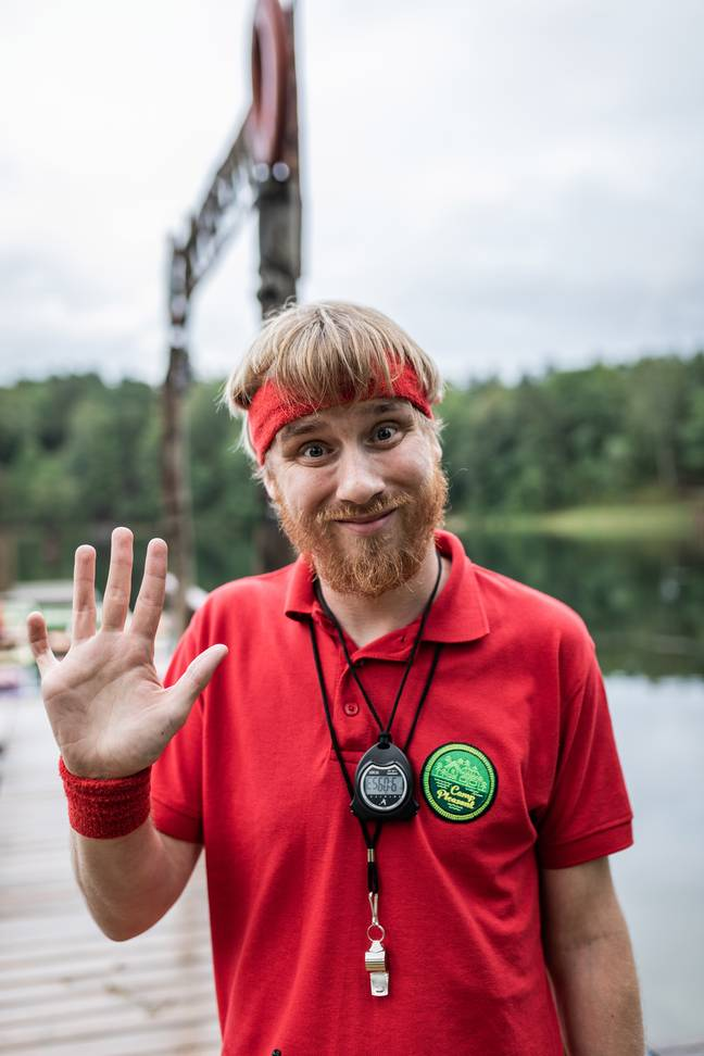 Canadian comedian Bobby Mair acts as camp councillor. (Credit: ITV)