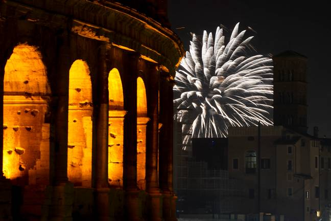 Fireworks in Rome over the New Year (Credit: PA)