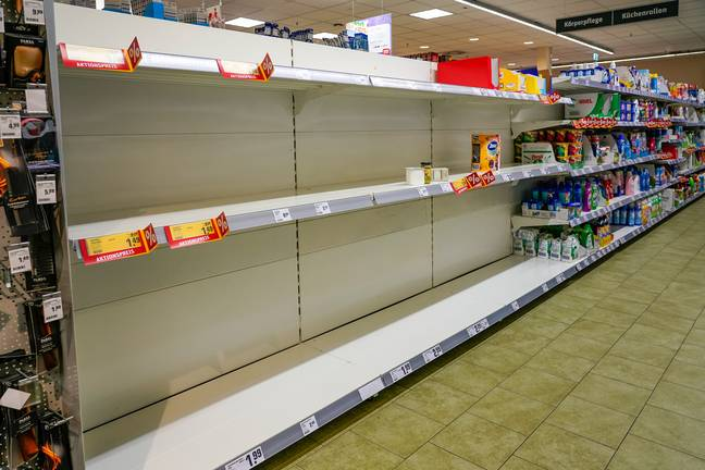 Supermarket shelves have been emptied amid coronavirus (Credit: PA)