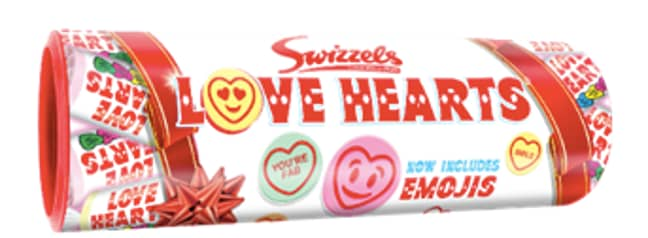 The Love Hearts gift tube is full of emoji-themed sweets (Credit: Swizzels)