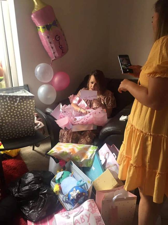 Hayley had a pink-themed baby shower (Credit: SWNS)