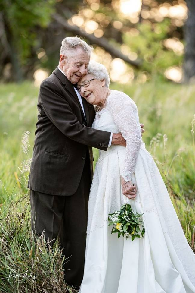 The couple were first married in 1960 at a small Lutheran Church in Sterling, Nebraska (Credit: Kate Autry Photography)