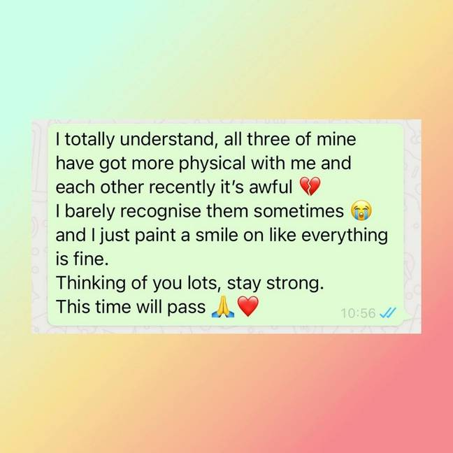 Christine to share her struggles through a private WhatsApp message which she later shared on Instagram (Credit: Christine McGuinness/Instagram)