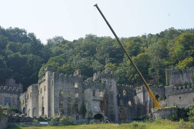 A crane has been pictured on site (Credit: Caters)