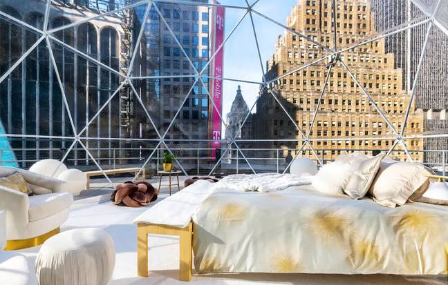 You'll sleep in a cozy, heated dome atop Nasdaq's rooftop terrace (Credit: Airbnb)
