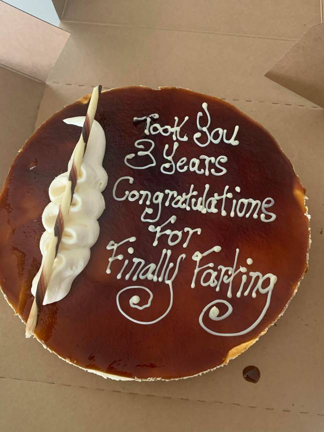The cake congratulated Kaylie for farting (Credit: Caters)