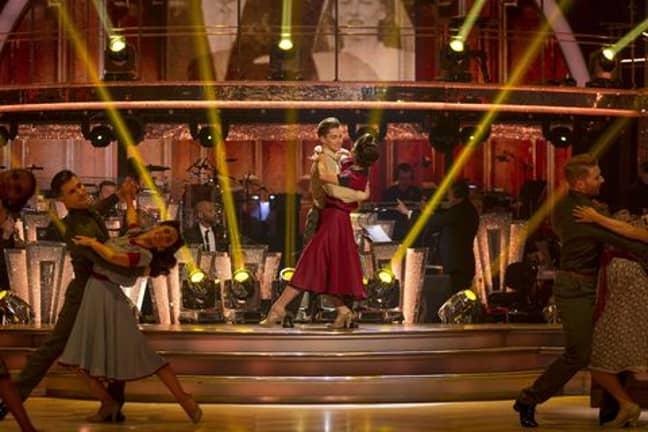The pro dancers wore World War II period dress (Credit: BBC)