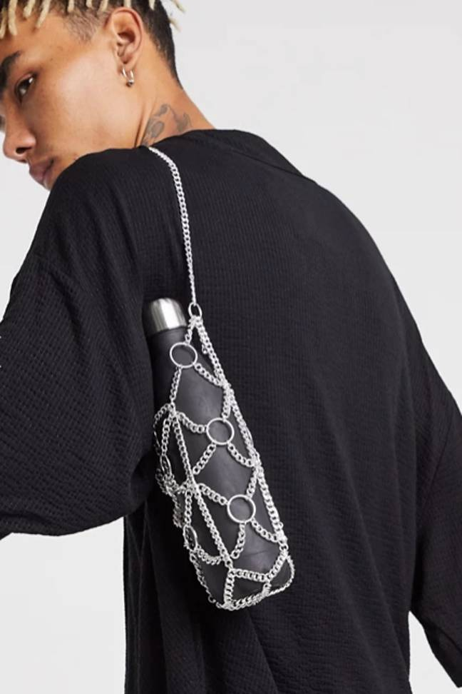Chain bottle holder in silver tone, £8 from ASOS (Credit: ASOS)