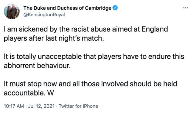 Prince William has spoken out (Credit: Twitter)