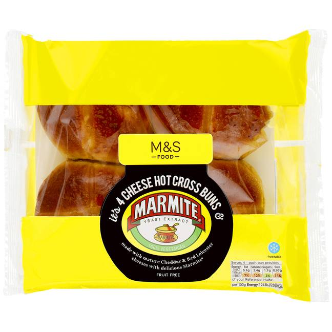 Take a look at the new M&S cheesy Marmite hot cross buns (Credit: M&S)