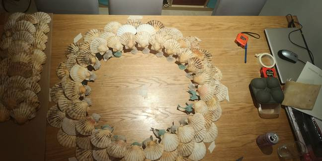 Lisa used a glue gun to stick the shells to the to three circular tiers (Credit: Kennedy Media)