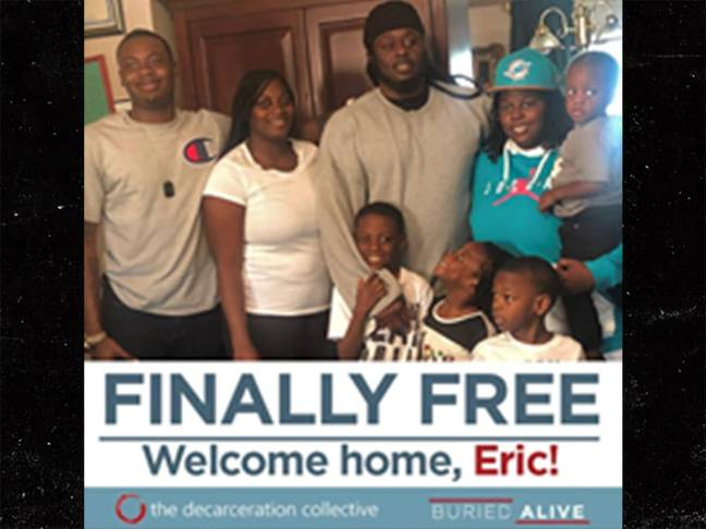 Eric is freed after 16 years behind bars. Credit: Buried Alive campaign