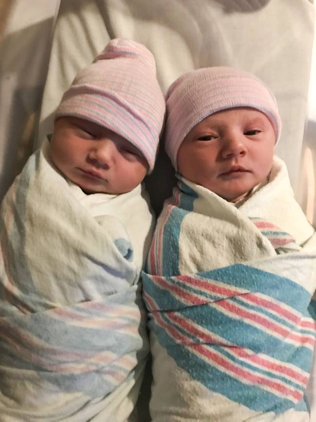 Lyndsey and Wesley had no idea they were having twins (Credit: Caters News)