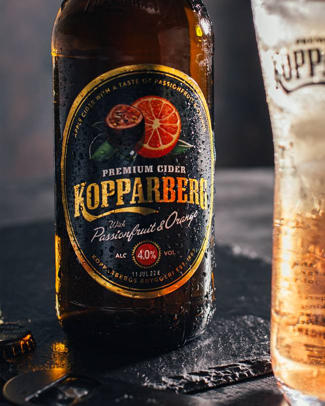 The new cider combines the citrus flavour of orange with the exotic notes of passionfruit (Credit: Kopparberg)