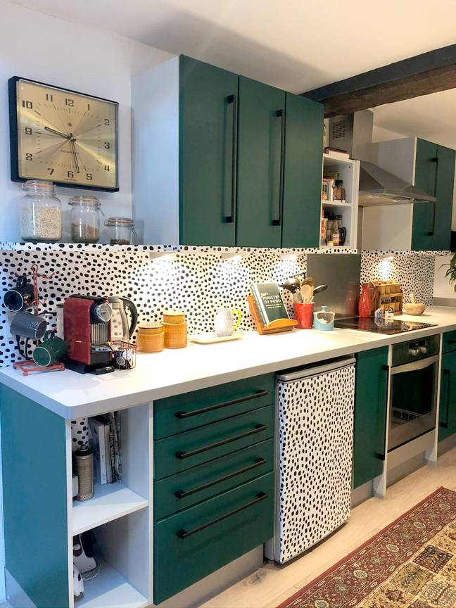 The final kitchen design is modern and colourful (Credit: Caters)