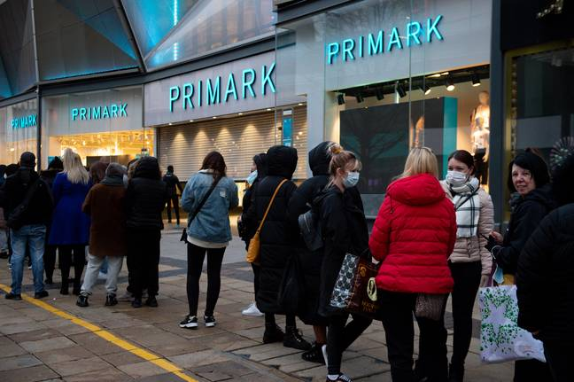 Queues outside Primark in Birmingham this morning (Credit: PA)