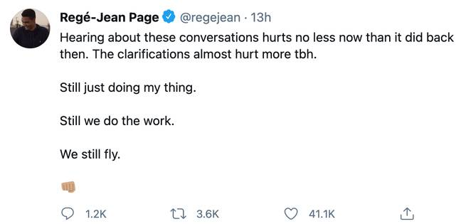 Regé-Jean Page tweeted on Wednesday following The Hollywood Reporter's article (Credit: Regé-Jean Page/ Twitter)