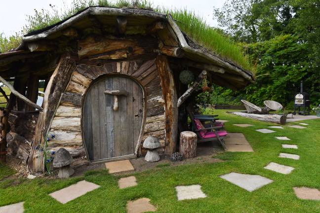 The magical outhouse is surrounded by stepping stones (Credit: Caters)