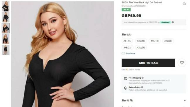 Shein stunned with their Borat-styled bodysuit (Credit: Shein)