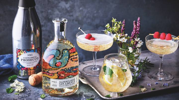 M&S Is Selling Glittery Elderflower Gin With Gold Pieces In Boujie AF Bottles