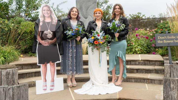 Couple Have Cardboard Cut Outs Of Their Family And Friends For Wedding
