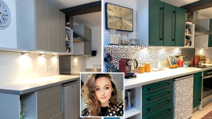 Woman Transforms Bland Kitchen With Spotty Stick On Vinyl That's £22 A Roll