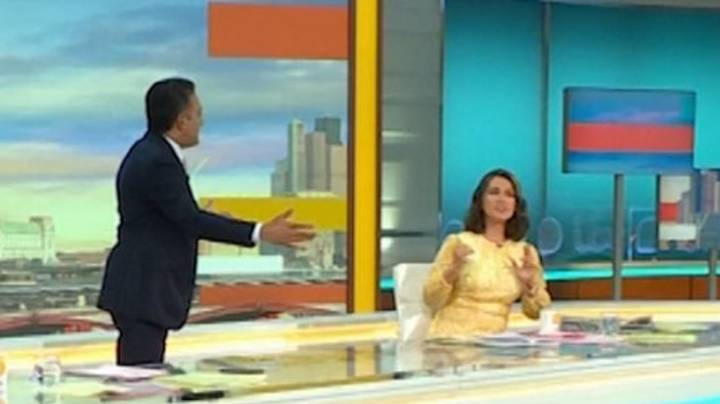 Good Morning Britain Fans Lose It As Susanna Reid Dodges Co-Host Adil Ray's Attempt To Hug Her