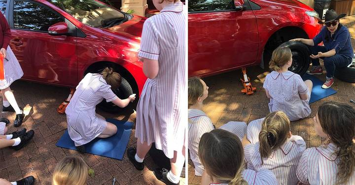 School Praised For Defying Gender Roles And Teaching Teenage Girls How To Change Tyres And Check Oil Levels