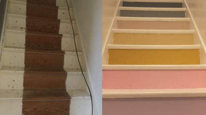 Woman Creates Incredible Rainbow Stairs Using Tester Pots Of Paint
