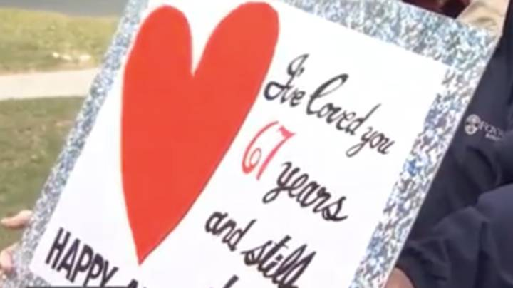 Elderly Man Wishes Wife Happy Anniversary Outside Care Home Amid COVID-19 Separation