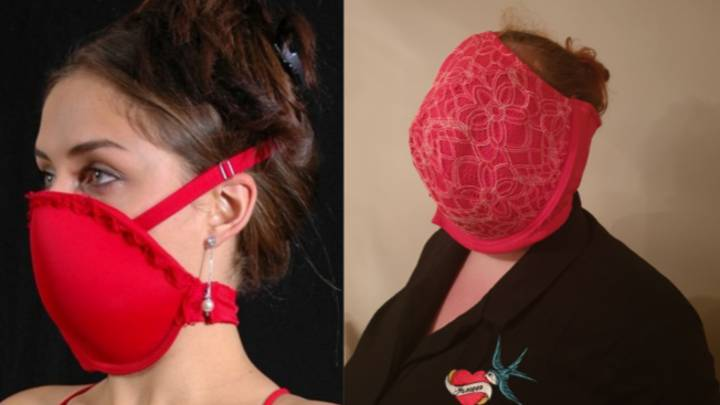 Woman Hilariously Attempts To Make A 'Makeshift Mask' From Her Bra