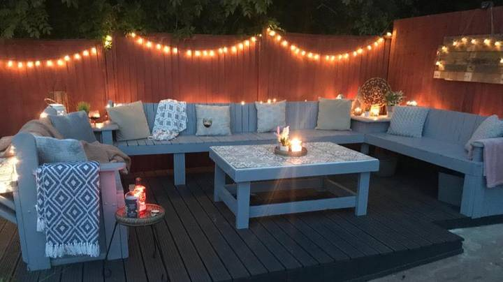 Couple Create Gorgeous Outdoor Seating Area Using Old Wooden Pallets