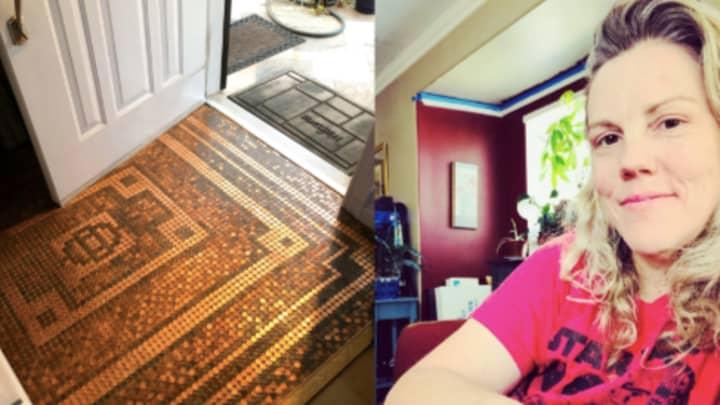 Woman Creates Incredible Hallway Flooring Using Just Coins