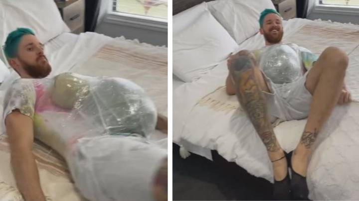 Man Simulates Being Pregnant And Can't Get Out Of Bed