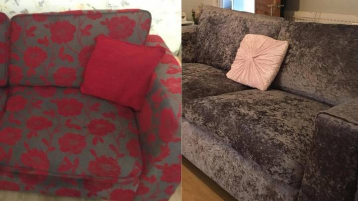 Woman Who Fell In Love With £1,000 Velvet Sofa Makes Her Own For £38