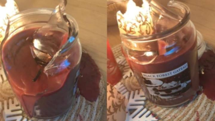 Woman Stunned After Aldi Branded Candle Explodes Into Chunks Of Glass