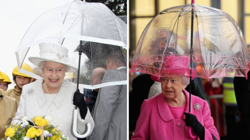 The Queen Always Matches Her Umbrella To Her Outfit And She's Working It