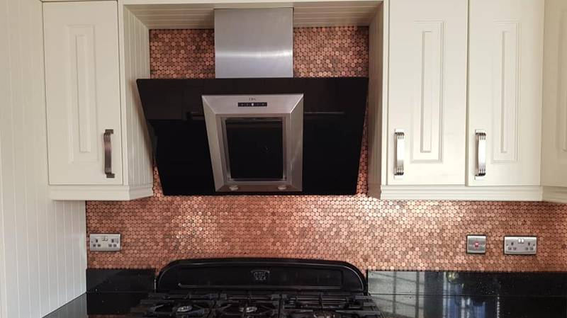 ​Woman Creates Incredible Kitchen Splashback Using Just Pennies