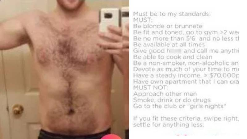 Man Mocked After Listing Ridiculous Requirements From Women On Tinder Profile