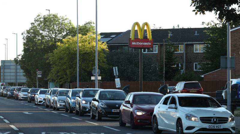 People Are Queuing For Miles As McDonald's Drive-Thrus Re-Open