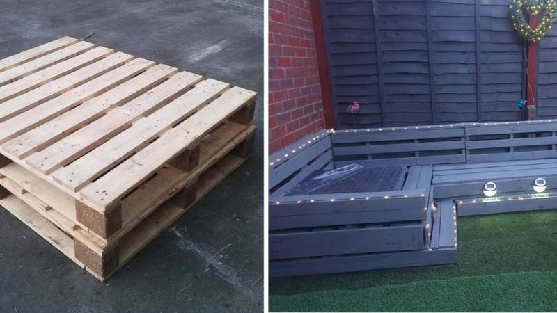 Woman Creates Incredible Corner Sofa For Her Garden Using Just Old Pallets