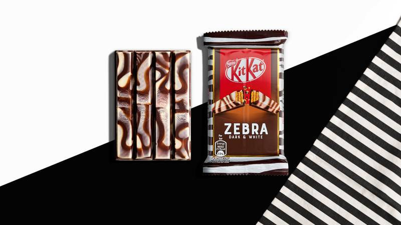 KitKat Launches New Zebra Bar Made Of Marbled Dark And White Chocolate