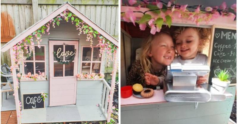 Mum Transforms Daughter's Wendy House Into Adorable Outdoor Cafe